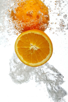 オレンジが水に落ちた