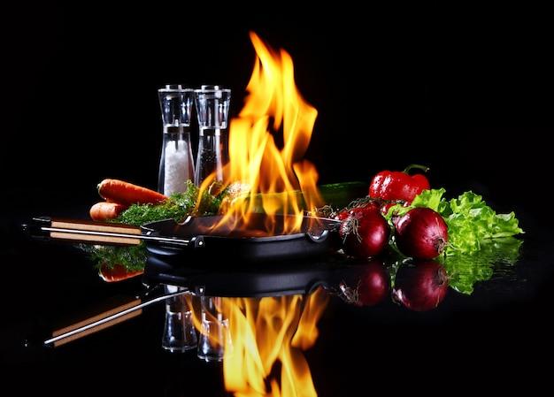 Сковорода с горящим огнем внутри