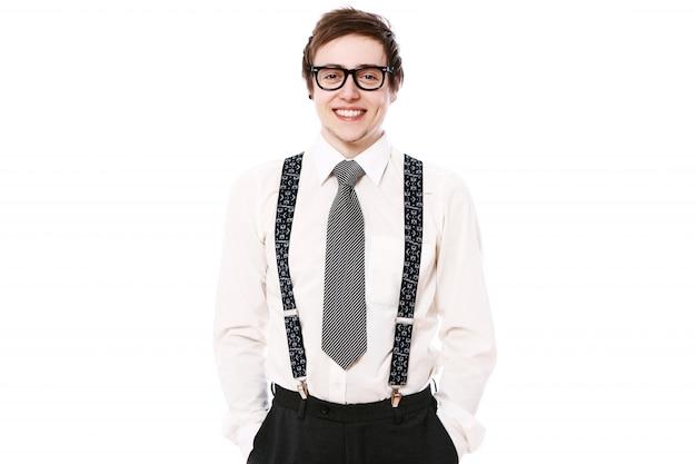メガネで幸せなビジネスマン
