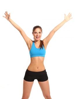 Красивая активная женщина в одежды для фитнеса