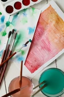 Абстрактная картина искусства с акварелью. вид сверху