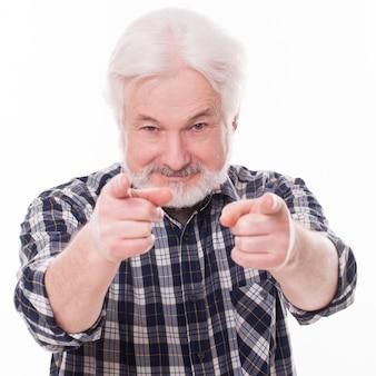 灰色のひげとハンサムな老人