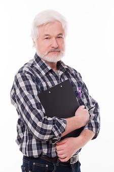 フォルダーを持つハンサムな老人
