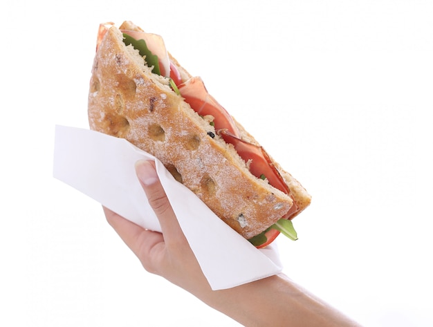 手にサンドイッチ