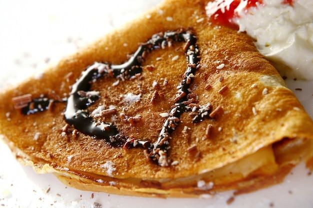 デザートプレート予測に基づくパンケーキとチョコレートシロップ