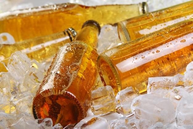 氷に横たわっているビールの瓶