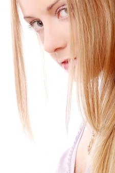 白の美しい若い、セクシーな女の子