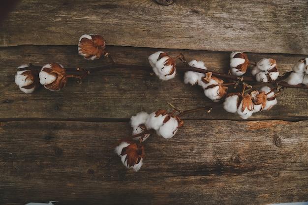 木製のテーブルに綿の花