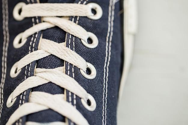 靴ひものクローズアップ