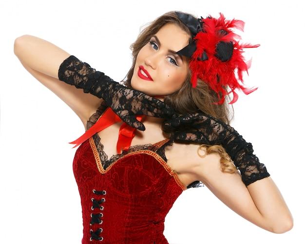 バーレスク。美しいドレスの魅力的な女の子