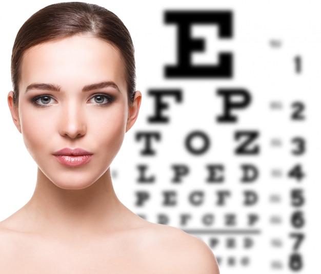 女性と視力検査表