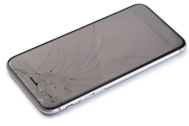 壊れたディスプレイのスマートフォン