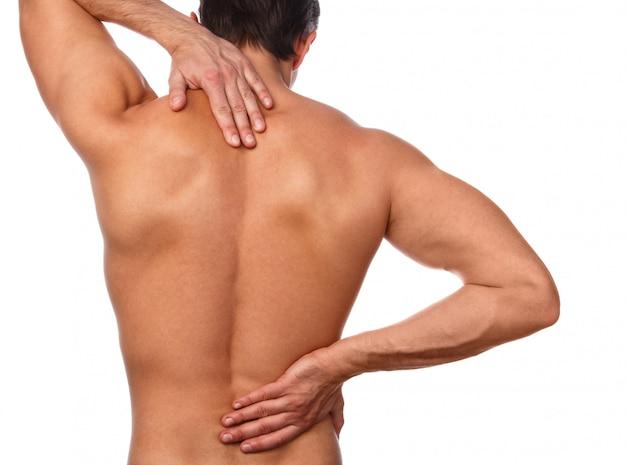 彼の背中の痛みを持つ男