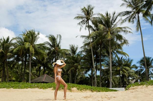 ヤシの木とビーチで美しい女性