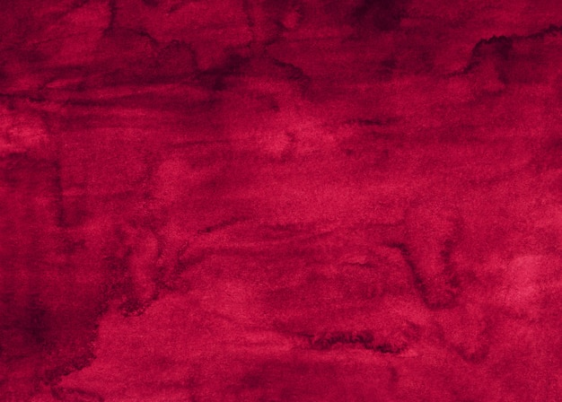 水彩の明るい深紅色の背景の絵、液体の質感。古い水彩バーガンディ背景。紙の汚れ。