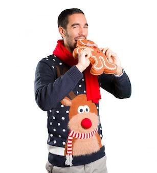 幸せな若い男、クリスマス、クリスマス、クッキー