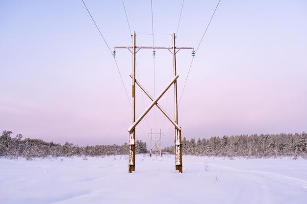 森の雪原で冬景色の電力線