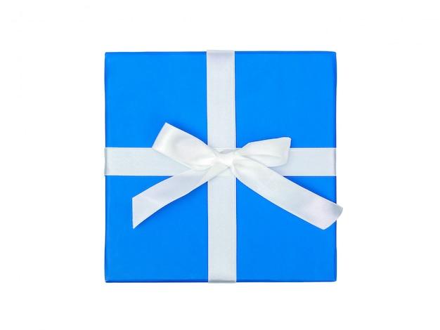 ギフトと白の弓と青いボックスのトップビュー