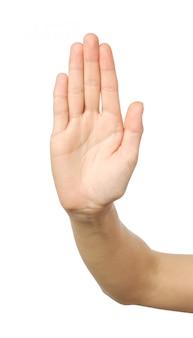 停止ジェスチャーで女性の手