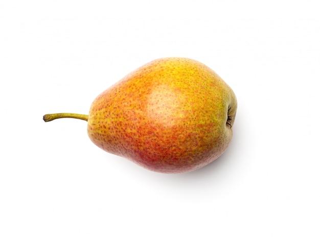 梨は、白い背景で隔離。フラットレイ