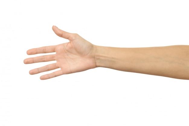 Давать руку для рукопожатия. жест рукой женщины изолированный на белизне