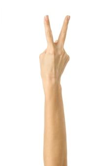 勝利のサイン。白で隔離される女性の手ジェスチャー