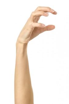 Потянув, хватая, достигая или царапая. жест рукой женщины изолированный на белизне