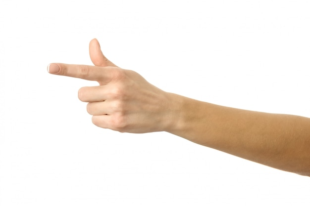 Указывая налево. жест рукой женщины изолированный на белизне