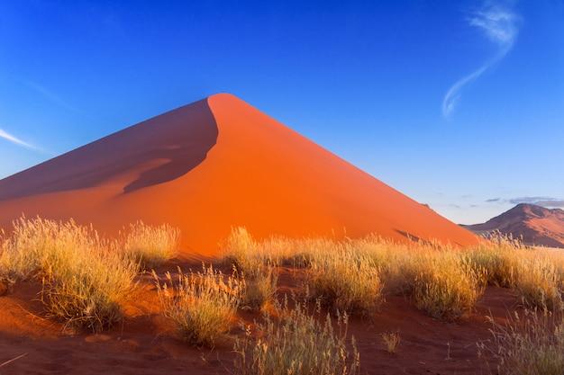 Красивый закат дюны и природа пустыни намиб, соссусвлей, намибия, южная африка