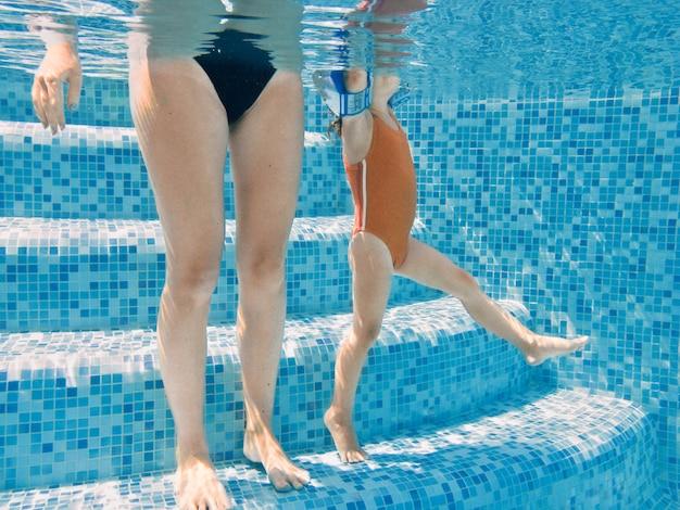 Мать и ребенок в бассейне, подводные ноги женщины и ребенка в воде бассейна, семейный отдых