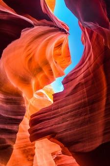 アリゾナ州のアンテロープキャニオンの砂岩層の美しい景色