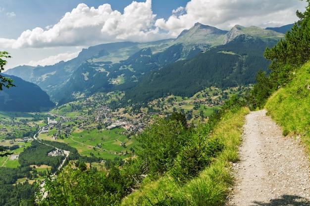 美しい牧歌的なアルプスの風景とトレイル、夏、スイスの山