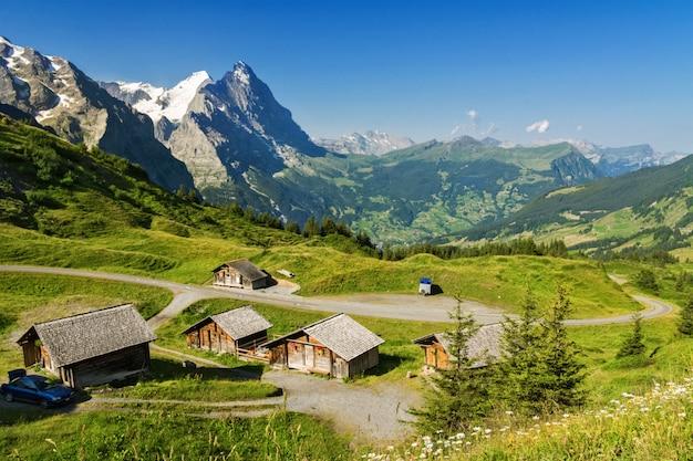 夏、アルプス、スイスの田舎の家と美しい牧歌的な山の風景
