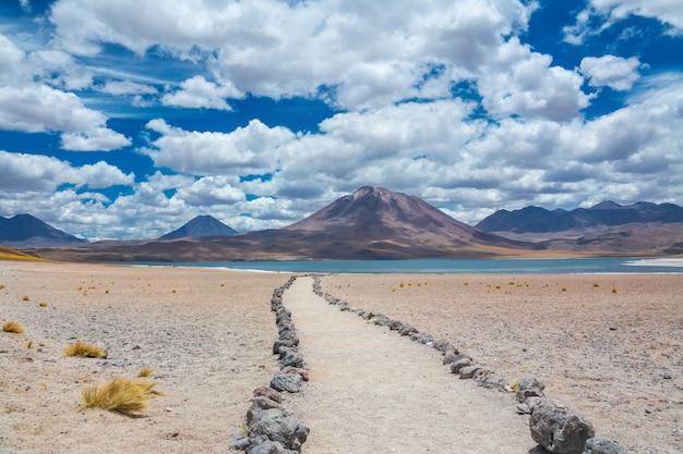 Пустыня атакама альтиплана, соленое озеро лагуна мисканти и ландшафт гор, миникес, чили, южная америка