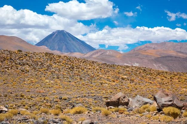 アタカマアルティプラナ砂漠サバンナと山の風景、ミニケ、チリ、南アメリカ