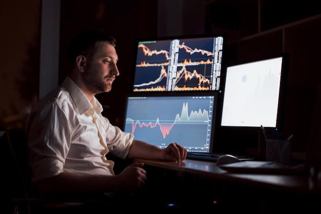 シャツを着たストックブローカーは、ディスプレイ画面のある監視室で働いています。証券取引所取引外国為替金融グラフィック。オンラインで株を取引するビジネスマン