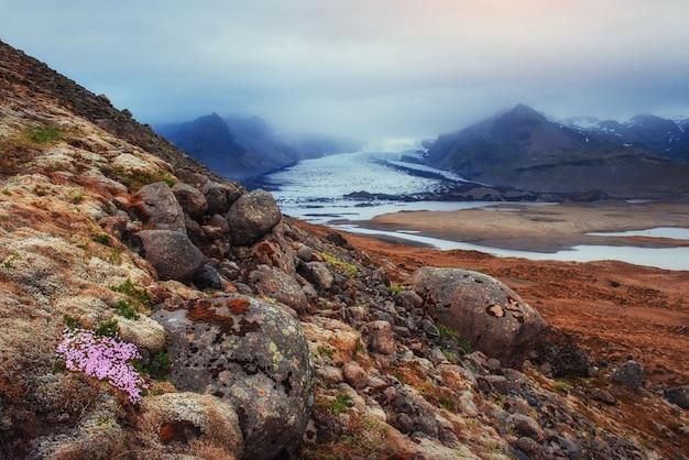 アイスランドの山々の美しい風景