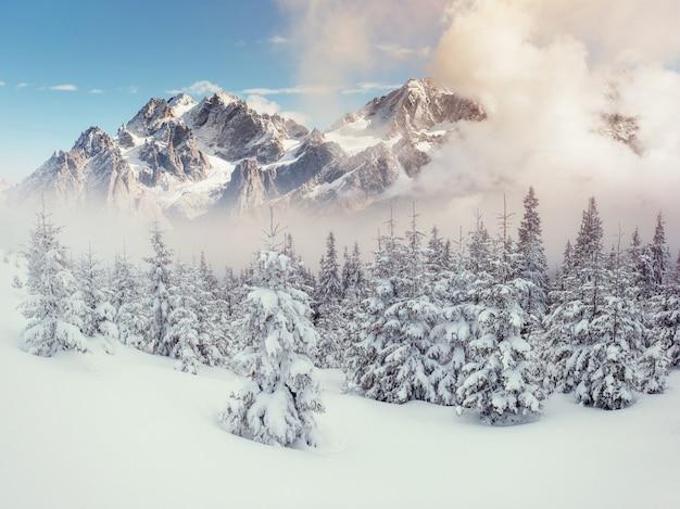 Таинственный пейзаж величественных гор зимой.