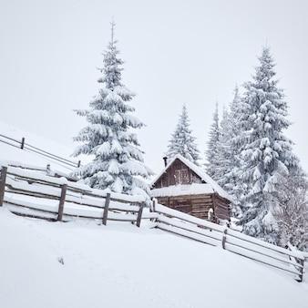 雪山の高い居心地の良い木造の小屋。