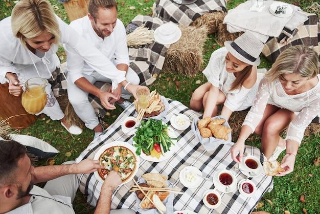 いくつかの新鮮なベジタリアン料理。家族の友人のグループの平面図は、いくつかの良い前菜と一緒に屋外で夕食をとります
