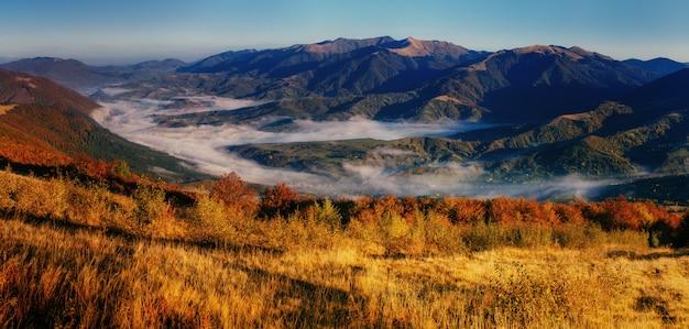 Взгляд туманных гор тумана в осени, карпатах, украине.