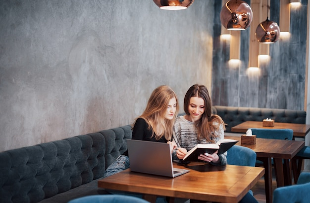 Встреча один на один. две молодые бизнес-леди, сидя за столом в кафе. девушка показывает информацию о коллеге на экране ноутбука. встреча друзей, ужин вместе. совместная работа, деловая встреча. фрилансеры работают