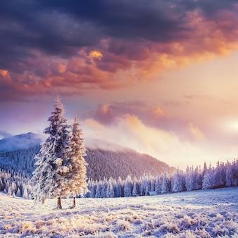 山の素晴らしい冬の風景。