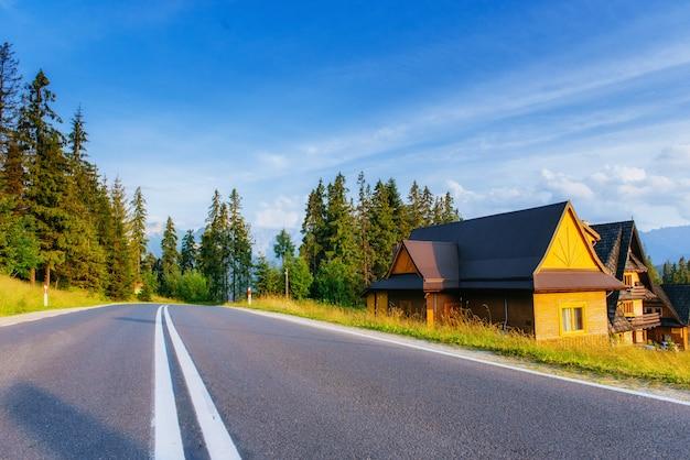緑の野原の山の伝統的な木造住宅