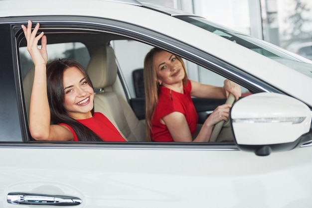 助手席に座っているとポーズをしながら笑顔の美しい若い女性の双子