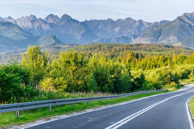 Живописная дорога в горах. вид на горы