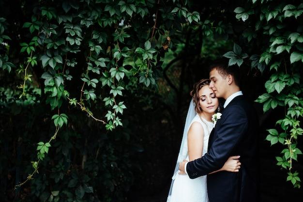 美しい公園で彼女の新郎を抱いて若い花嫁