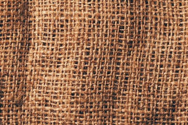 亜麻黄麻布のテクスチャ背景、詳細なクローズアップビュー