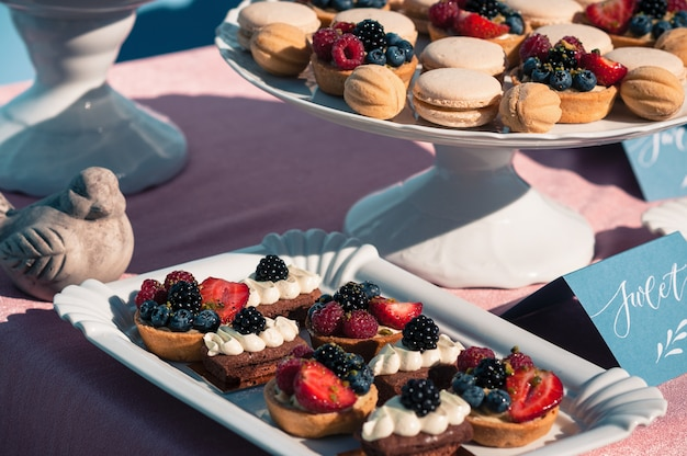 カップケーキ、マカロン、他のデザート、ブルーデザインのおいしい甘いビュッフェ