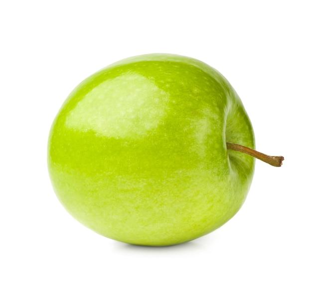白地に緑のリンゴ